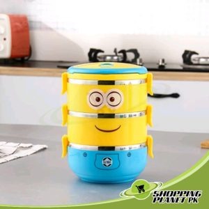 Minion Cartoon Lunch Box With 3 Steps