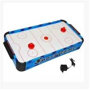 """The article is suitable age young (7-14 years old) Table hockey board game for children and adults Develop physical tone and response Also called """"good mood generator"""" Size: 69 cm long Smooth surface Panel: medium density fiberboard (MDF) Have jet effect, ice hockey in the process of the game more smooth, Handle: PP material is made, to ensure that the game hand according to comfort, Ball boxes: adopt ABS environmental protection material produced by seiko. At the bottom of the fan air flow generated by the uniform air holes on the panel through it, make the cake in the already have a certain degree of floating on a smooth surface, thus good simulation effect of ice. Dimensions : 69 x 37 x 10 CM"""