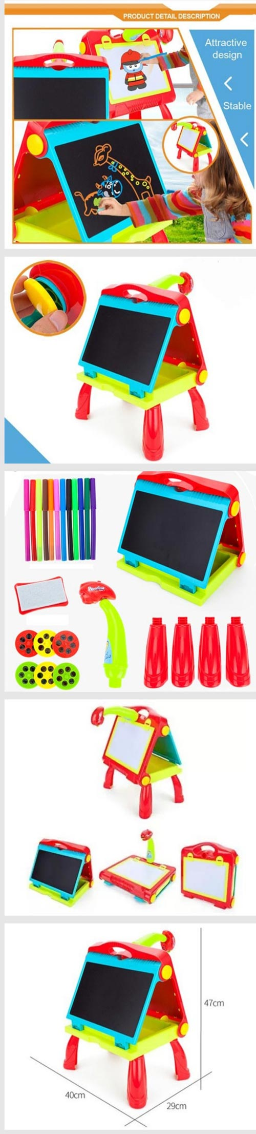 4 In 1 Study Projector Folding Table For Kids