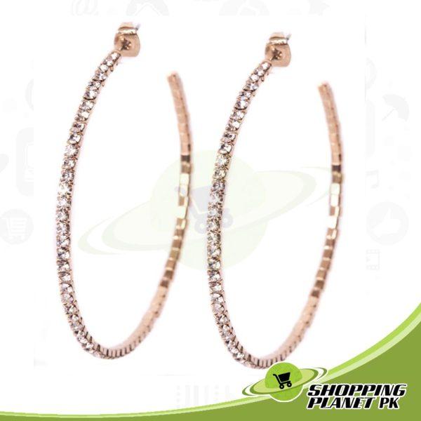 Shining Stone Hoop Earrings In Pakistan