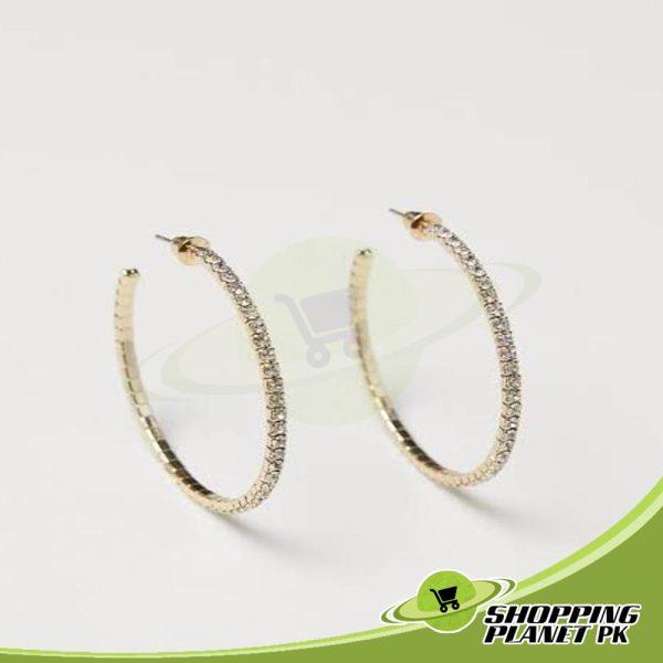 Shining Stone Hoop Earrings In Pakistans,