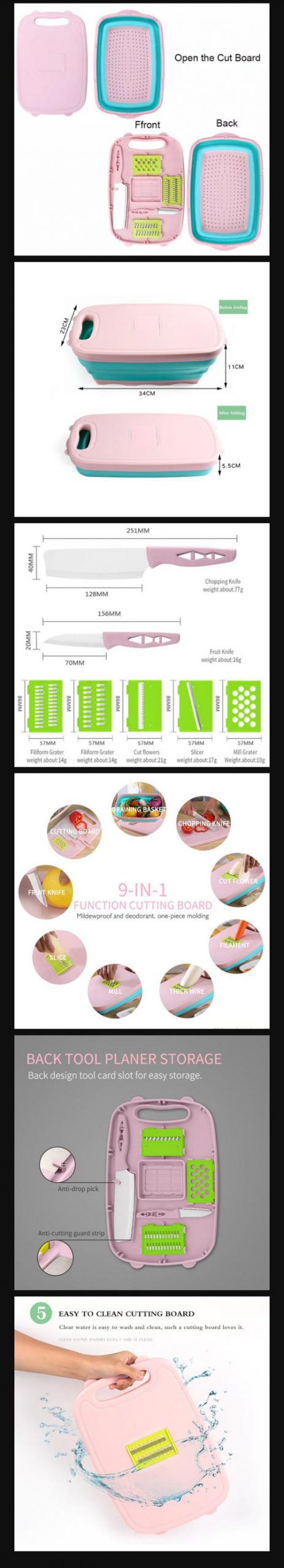 9 in 1 Multi Functional Cutting Board In Pakistan